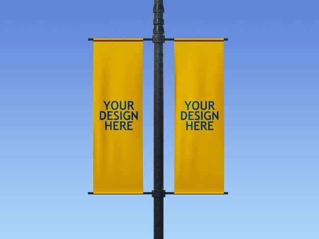 Lamp post banner mockup Premium Psd
