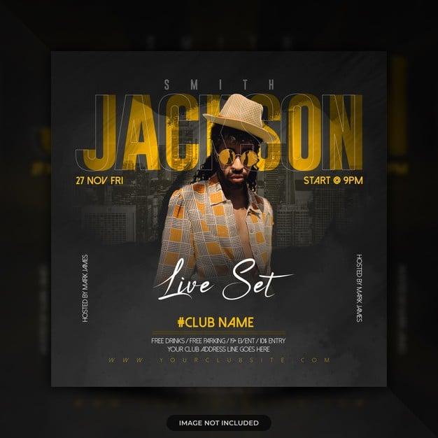 Live music concert dj party flyer social media post banner Premium Psd
