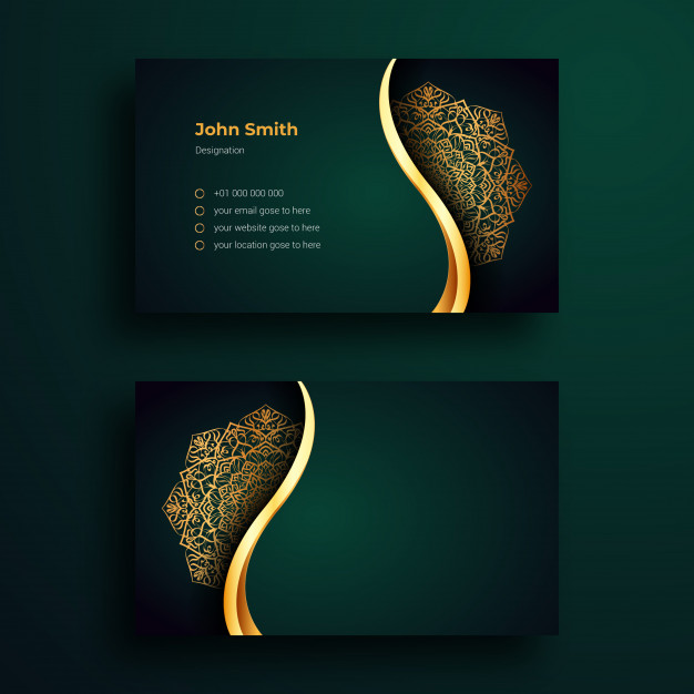 Luxury business card template with ornamental mandala arabesque design Premium Vector