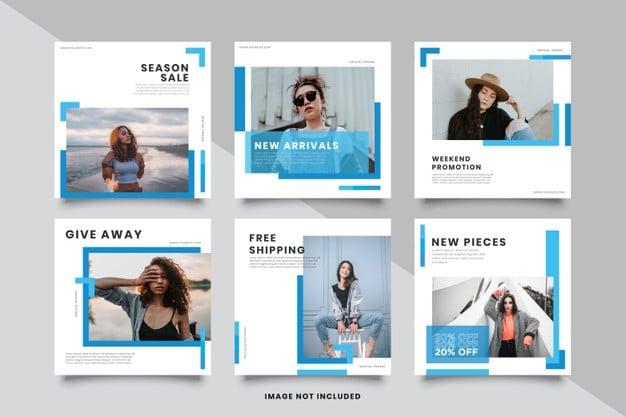 Minimalist blue social media post template collection Premium Vector