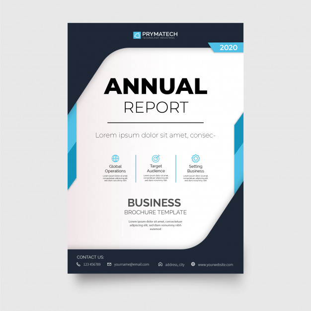 Modern annual report brochure with abstract shapes Free Vector