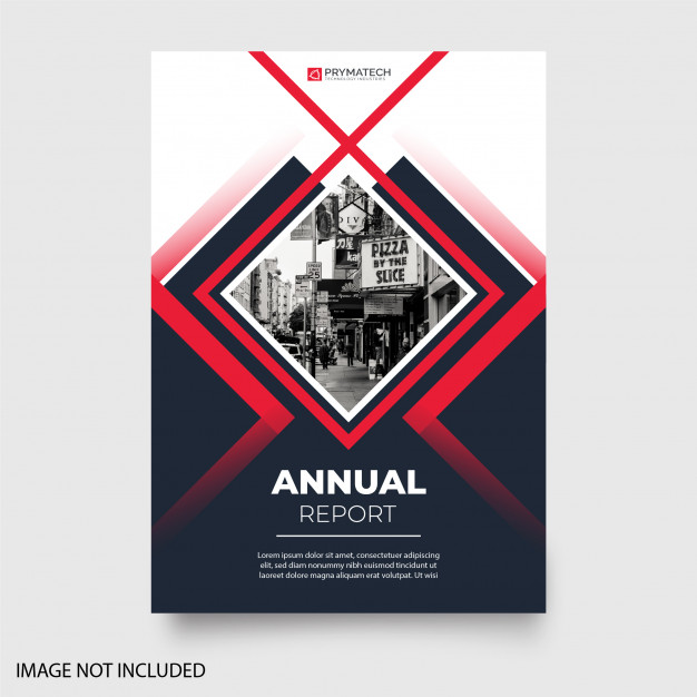 Modern annual report with abstract shapes Free Vector