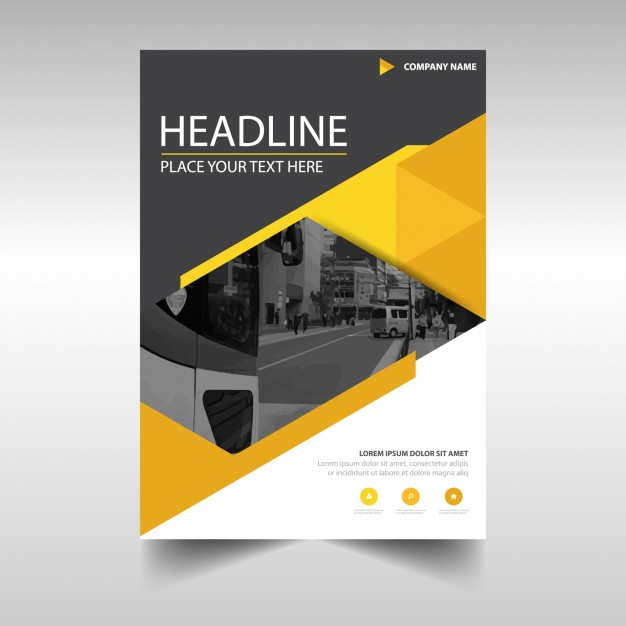 Modern yellow business flyer template Free Vector