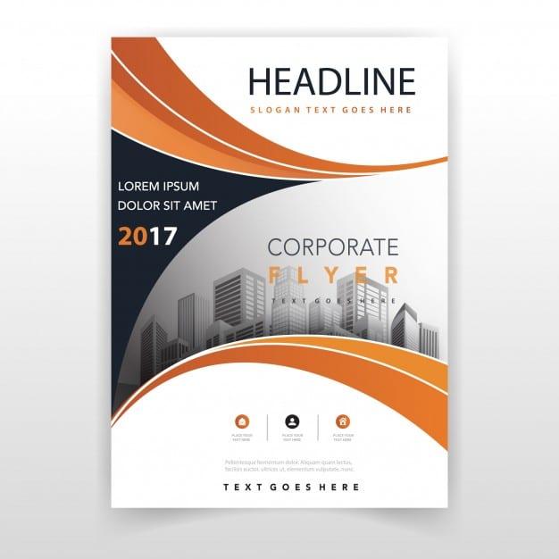 Orange annual report template Free Vector