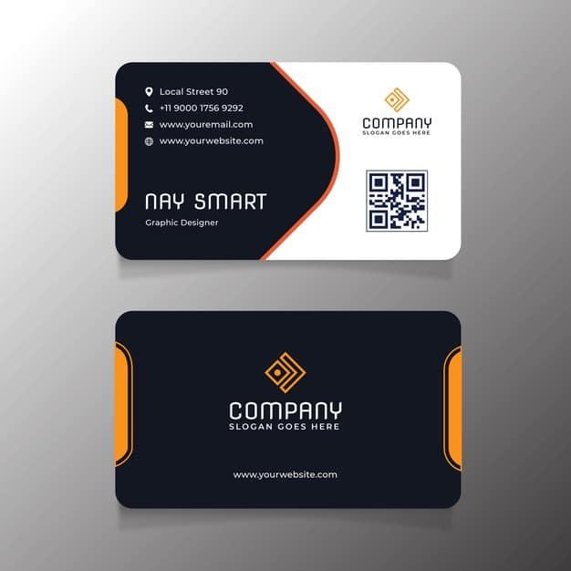 Orange business card template with qr code Premium Vector