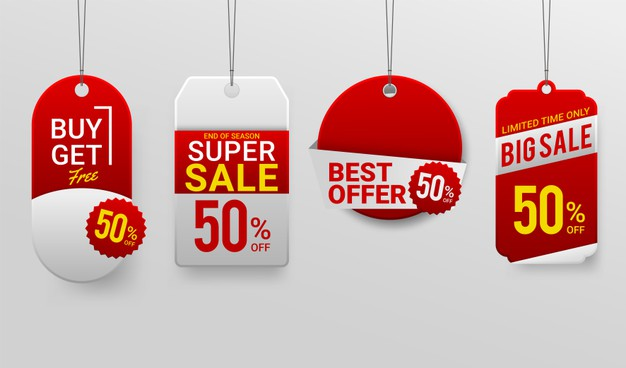Promotion sale labels best offers Free Vector
