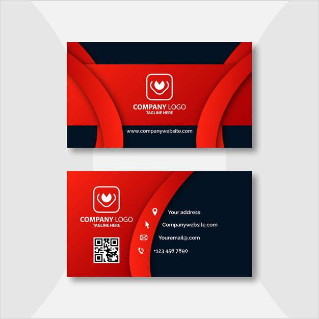 Red and black geometric business card template design Premium Vector