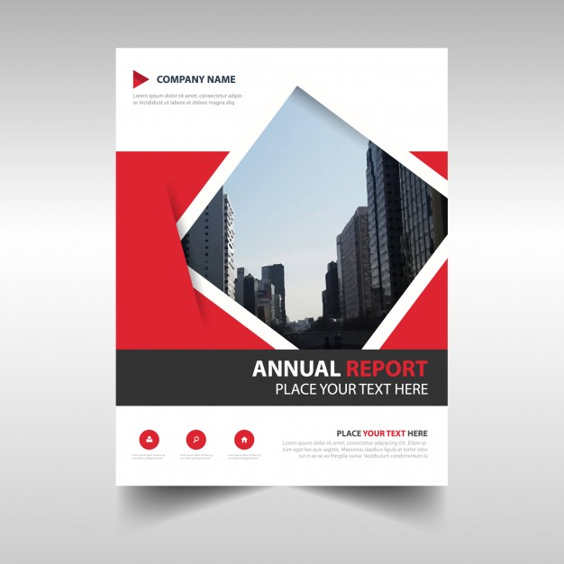 Red geometric abstract annual report template Free Vector