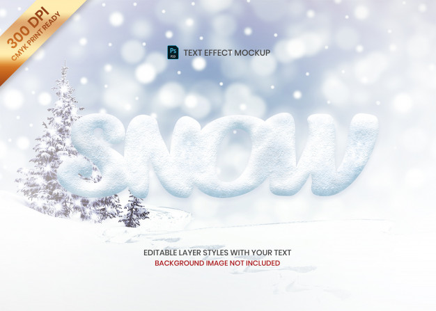 Simple snow texture logo text effect template Premium Psd