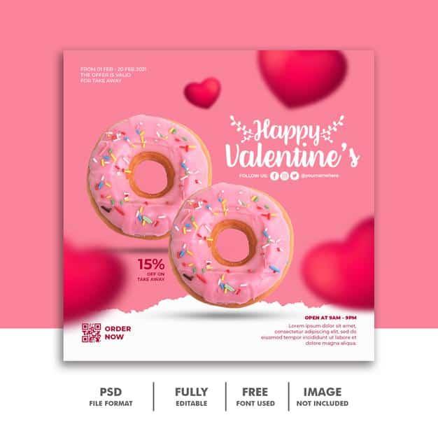 Social media post banner valentine template for food menu Premium Psd