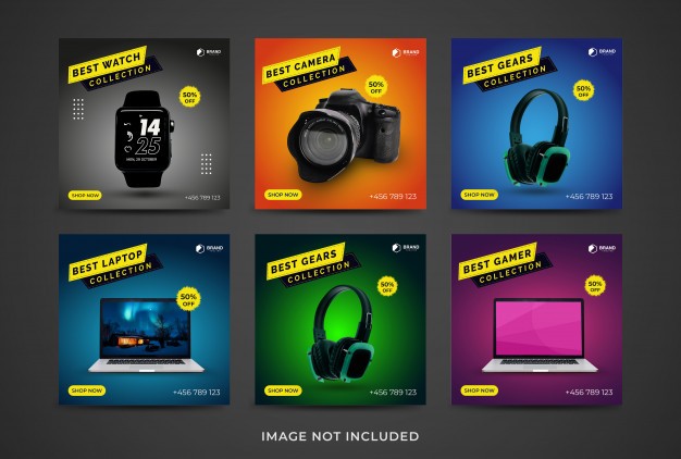 Social media post set of gadget collection template Premium Vector