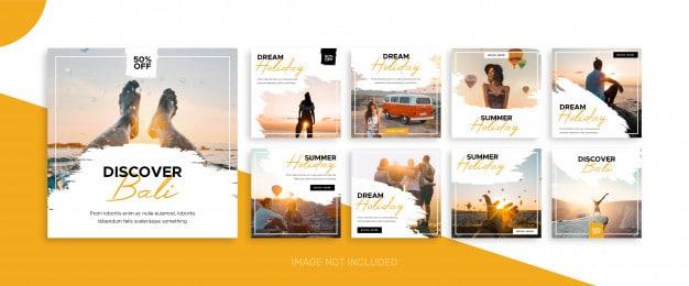 Social media travel feed post bundle kit template Premium Vector