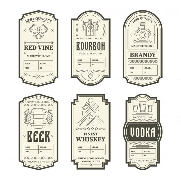 Various vintage alcohol bottle labels Free Vector