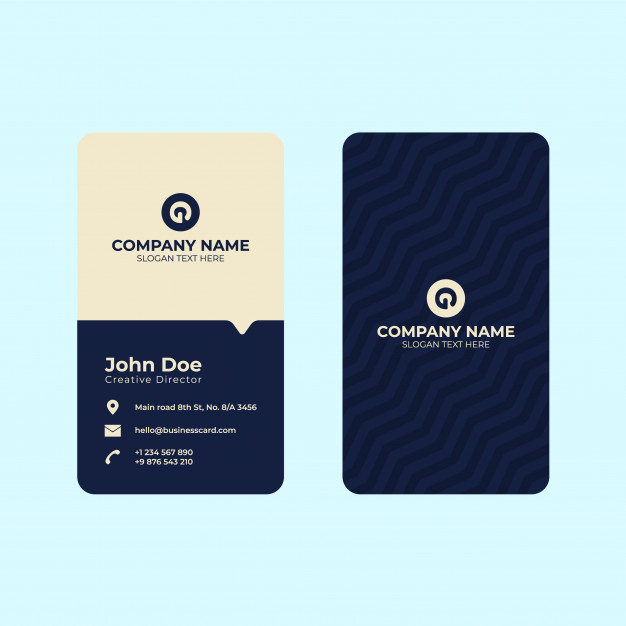 Vertical business card print template. Premium Vector