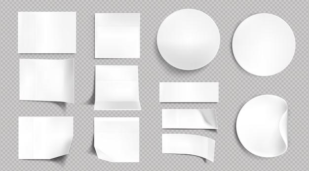 White paper stickers, blank square, round and rectangle sticky notes. vector realistic set of empty