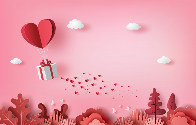 Gift box with heart balloon floating it the sky, happy valentine's day banners, paper art style. Premium Vector