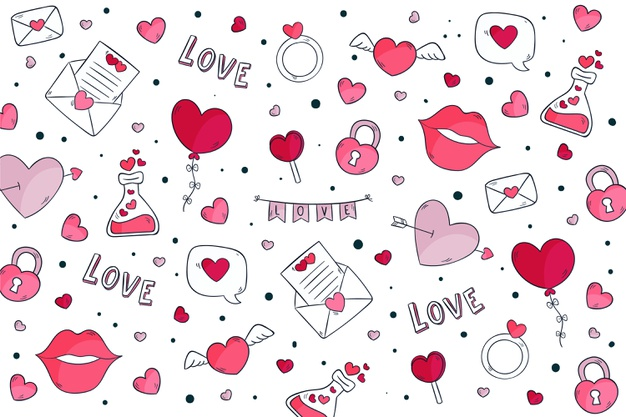 Hand drawn valentine's day background Vector