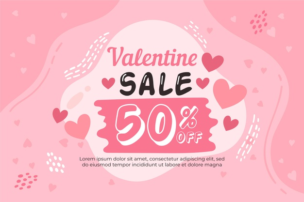 Hand drawn valentine's day sale with discount Vector