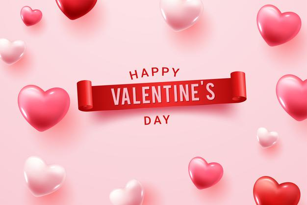 Happy valentine day congratulation with red and pink 3d heart shapes Vector
