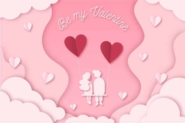 Lovely valentine's day wallpaper in paper style Vector