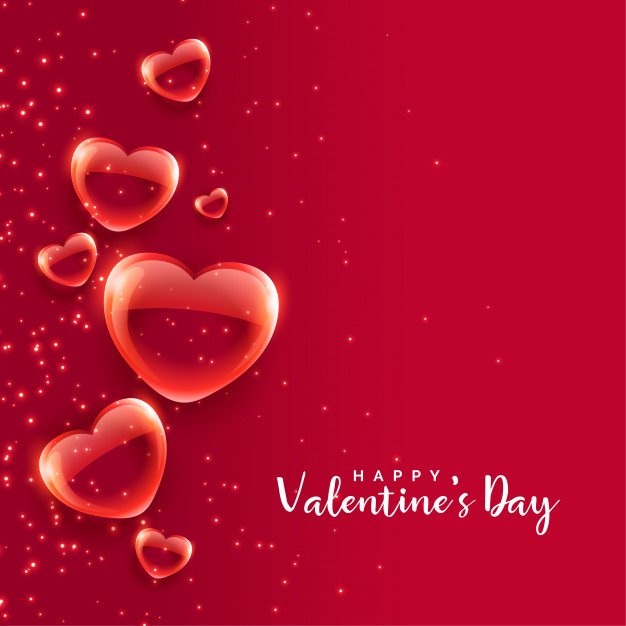 Red bubble hearts floating valentines day background Vector