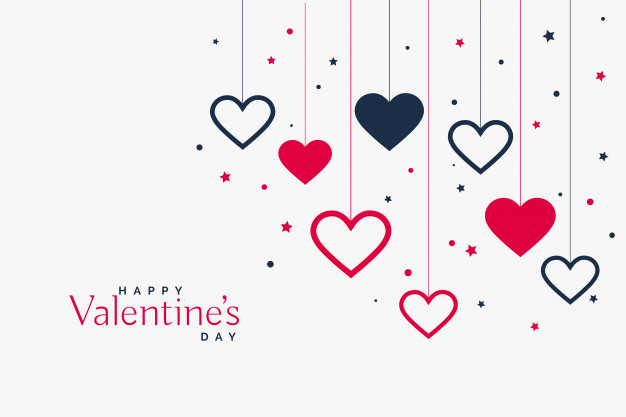 Stylish hanging hearts background for valentines day Vector