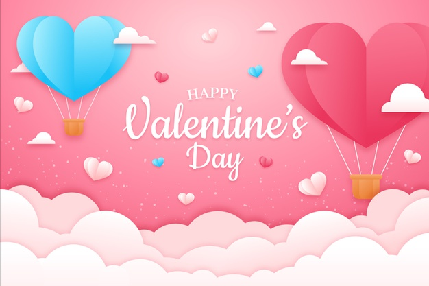 Valentines day background concept in paper style Premium Vector