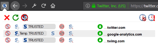 The NoScript status bar menu