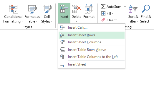 Insert new rows in Excel