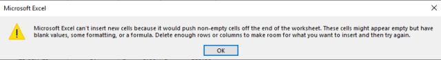 Insert new rows in Excel Error
