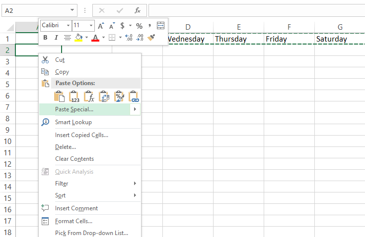 Excel rows to columns