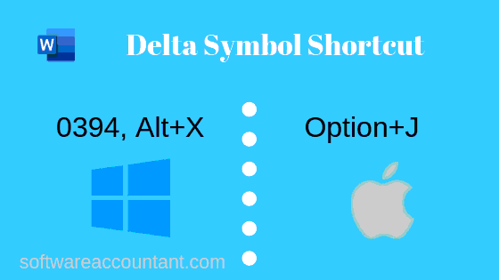 Delta symbol shortcut for mac and windows