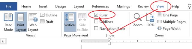 Turn on Rulers