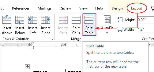 How to split a table in word