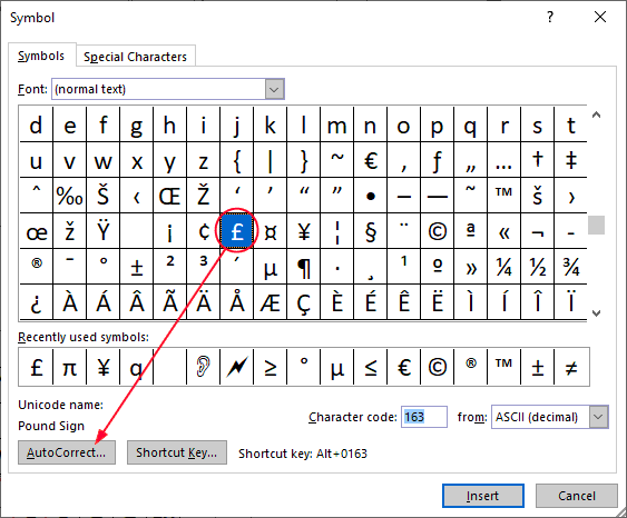 Pound symbol in Word