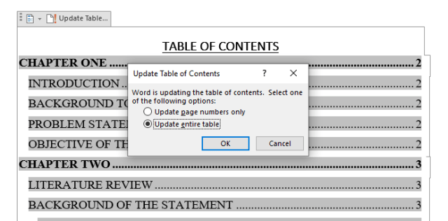 Table of content in Word