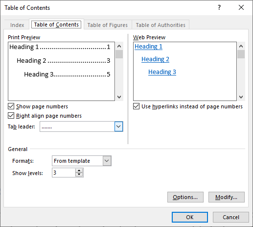 Table Of content Dialog