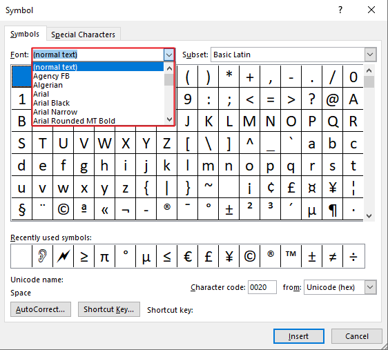 Select your desired font and double click the symbol to insert