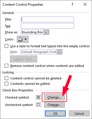Click on the Change button next to checked symbol.