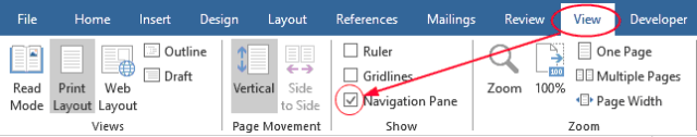 Click to activate the Navigation Pane