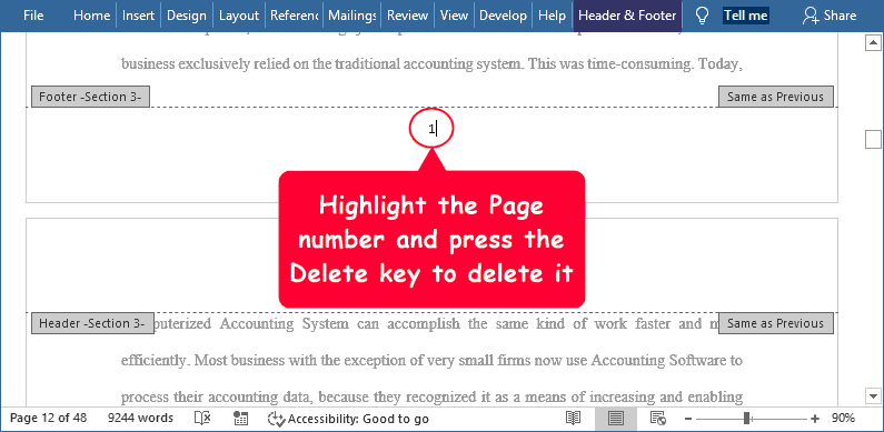 Select and delete the page number