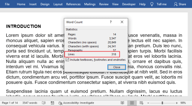how to count lines in Word