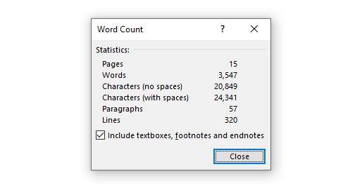 Word Count statistics