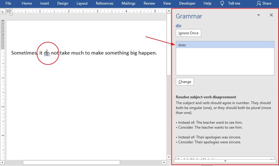 correct or ignore grammar error