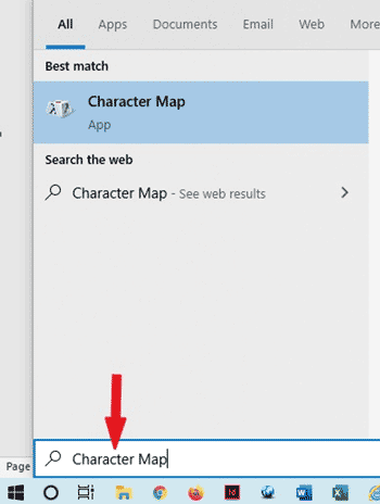 searching for character map to copy and paste symbols