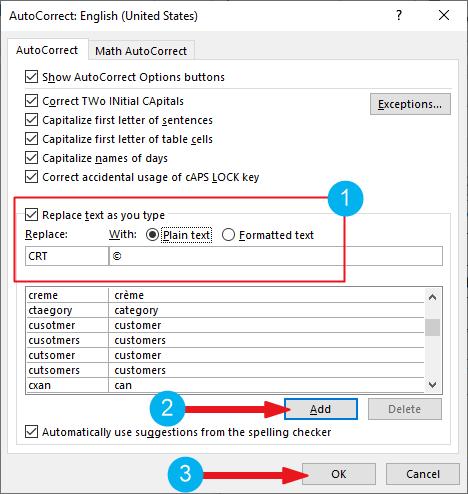 creating custom copyright shortcut in Word