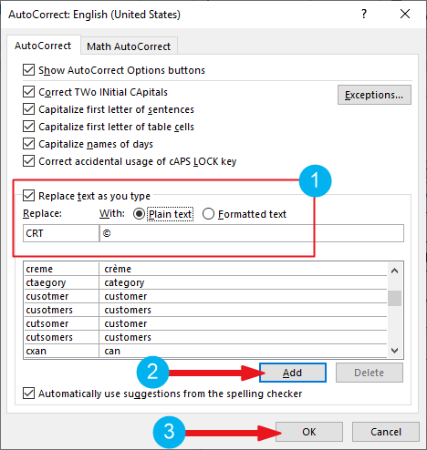 creating custom copyright shortcut in Word