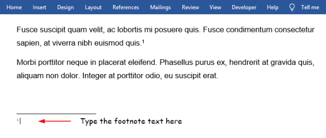 Type your footnote text in bottom area of your Word document