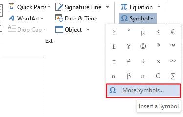Go to Insert>Symbols>More Symbols