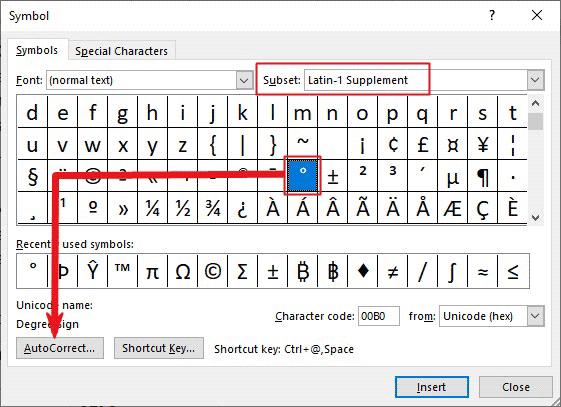 customizing ° symbol shortcut